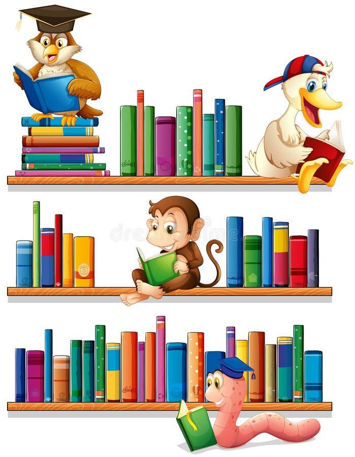 Zwierzęta i książki ilustracja wektor