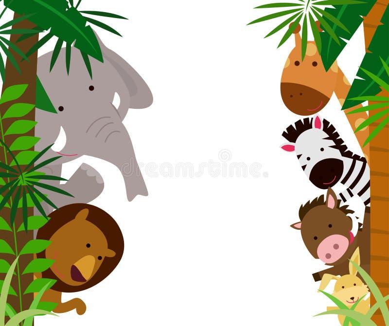 Zwierzęta i rama ilustracja wektor