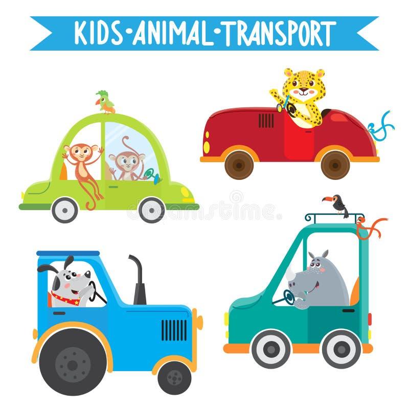 Zwierzęta jedzie pojazdy ilustracji