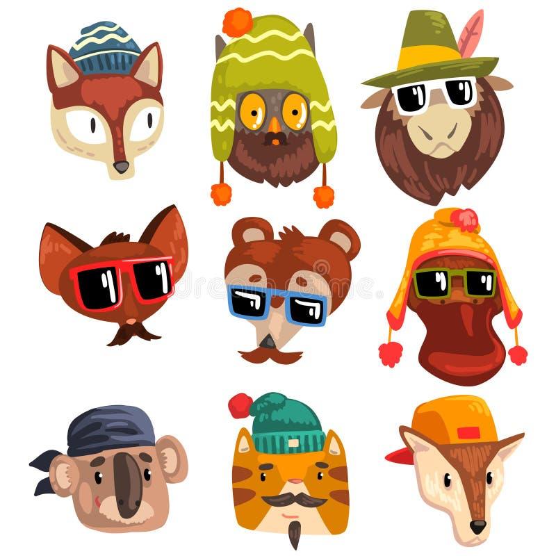 Zwierzęta jest ubranym modnisiów kapelusze i okulary przeciwsłonecznych, zwierzęcej portret kreskówki wektorowa ilustracja na bia ilustracji