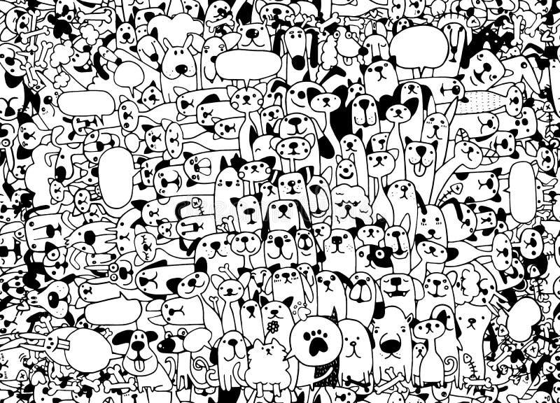 zwierzęta Kotów i psów wektoru wzór Ręki Rysujący Doodles zwierzęta domowe, s ilustracja wektor