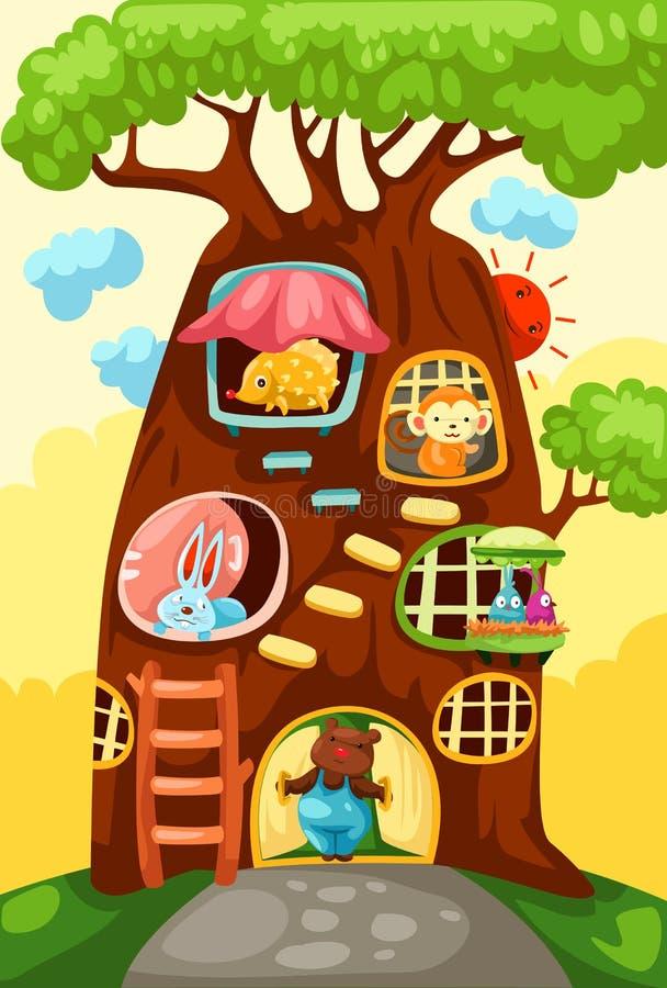 zwierzęta mieścą drzewa royalty ilustracja
