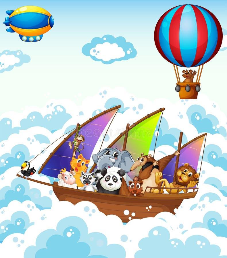 Zwierzęta na łodzi ilustracja wektor