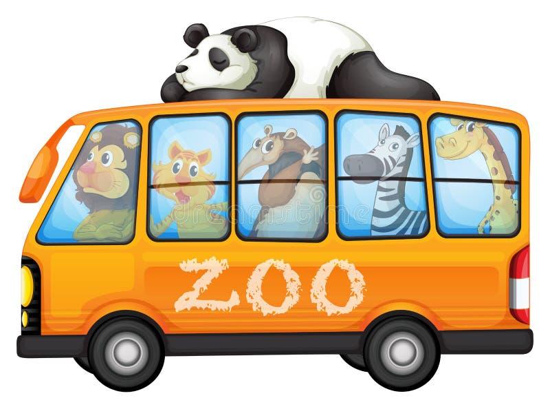 Zwierzęta na autobusie royalty ilustracja