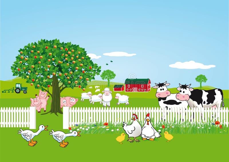 Zwierzęta na gospodarstwie rolnym ilustracji