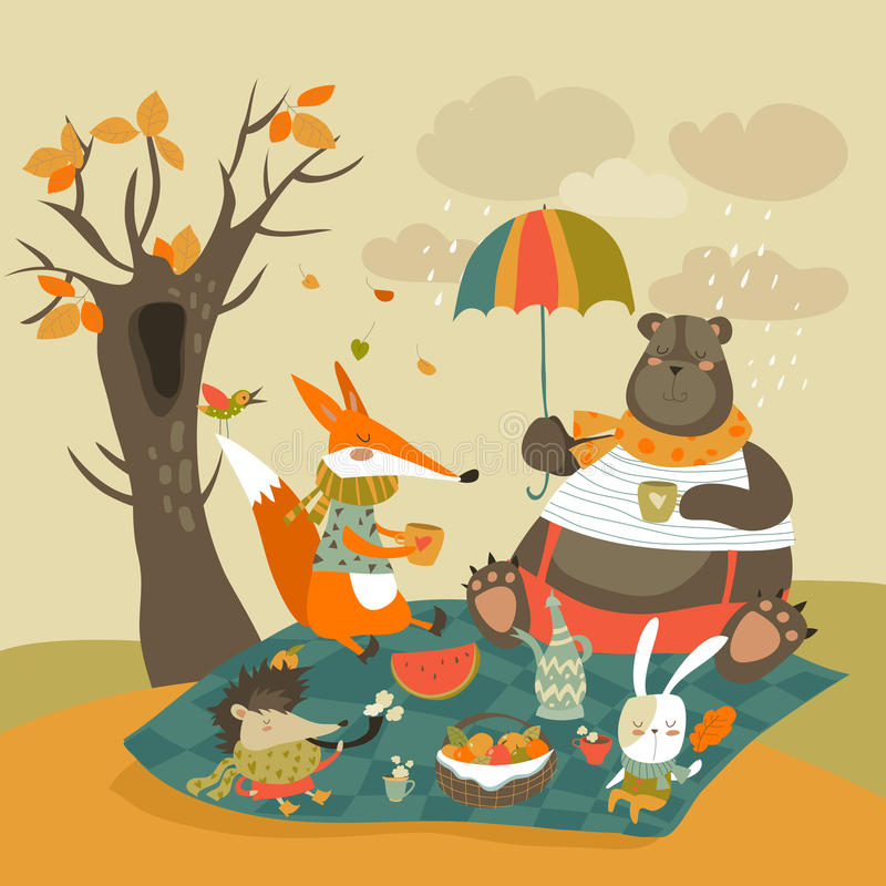 Zwierzęta przy pinkinem w jesiennym lesie ilustracja wektor
