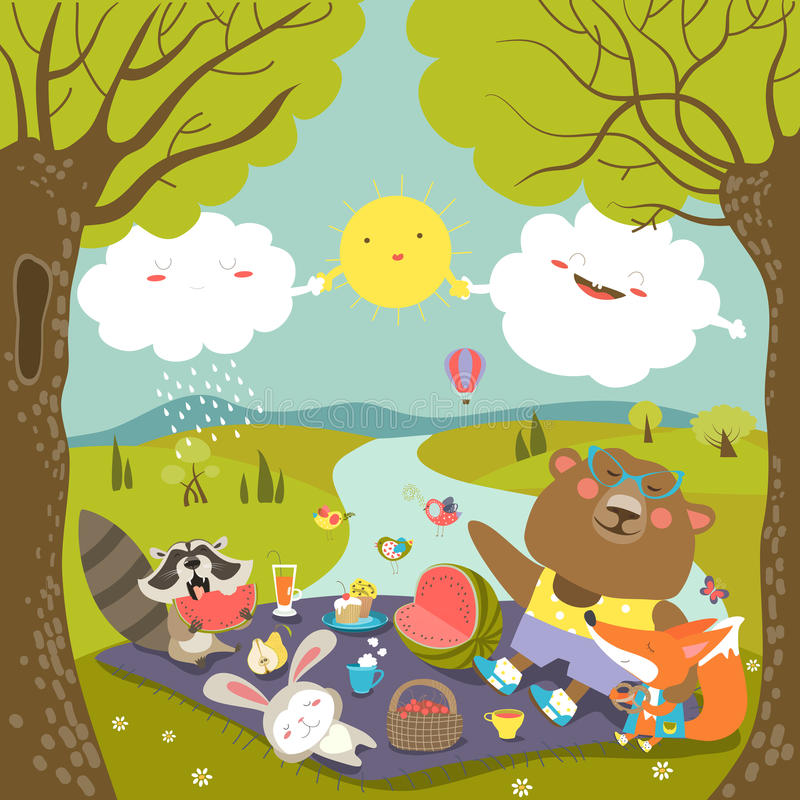 Zwierzęta przy pinkinem w lesie ilustracja wektor