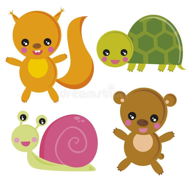 zwierzęta te drewniane ilustracja wektor