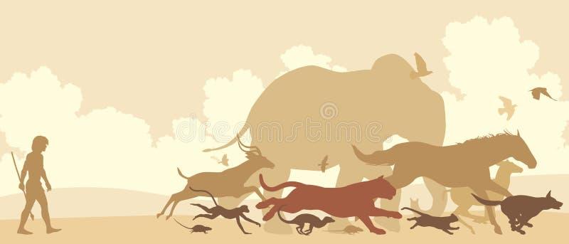 Zwierzęta ucieka mężczyzna ilustracja wektor