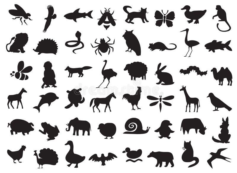 zwierzęta ustawiają sylwetki ilustracji
