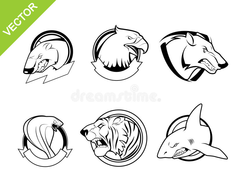 zwierzęta ustawiają sześć royalty ilustracja