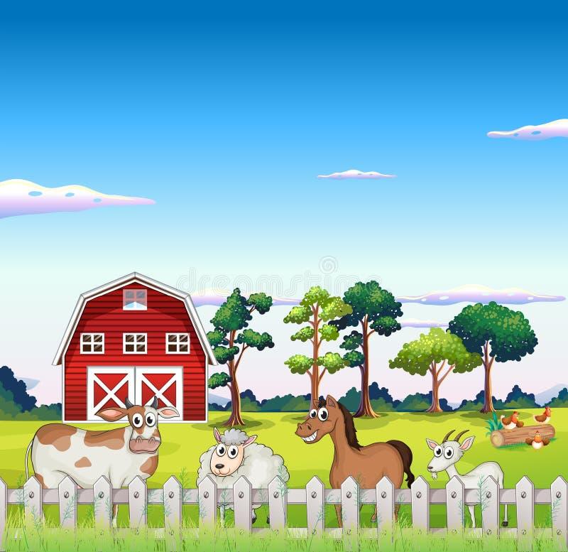 Zwierzęta wśrodku ogrodzenia z barnhouse przy plecy ilustracji
