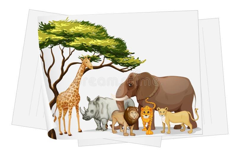 Zwierzęta w dżungli na papierze royalty ilustracja