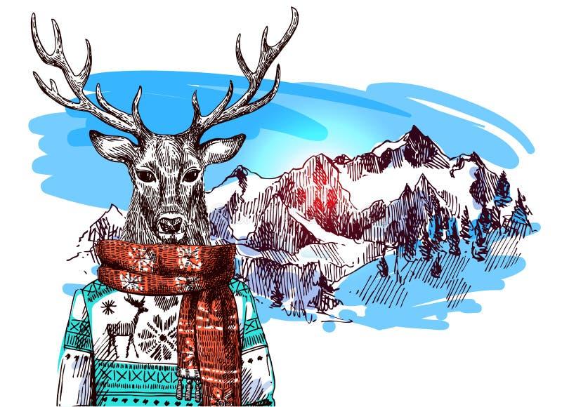 Zwierzęta w górach ilustracja wektor