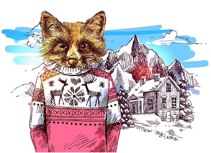 Zwierzęta w górach royalty ilustracja