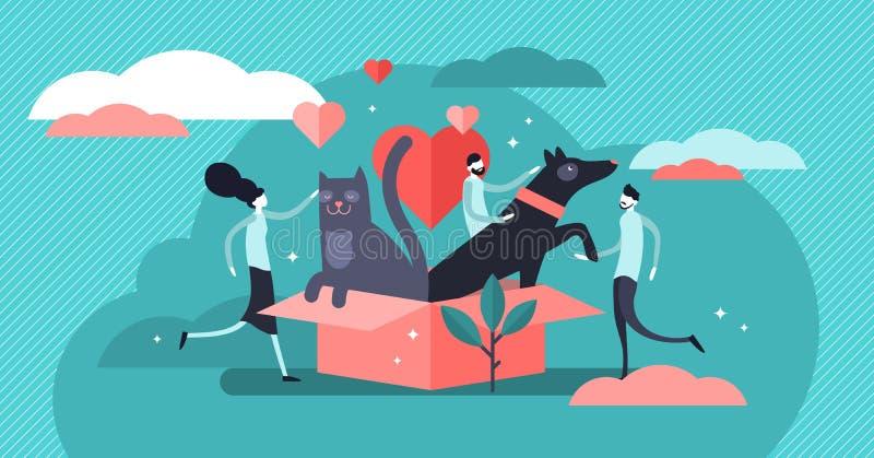 Zwierz?cego schronienia wektoru ilustracja P?aski malutki zwierz? domowe adopcji persons poj?cie royalty ilustracja