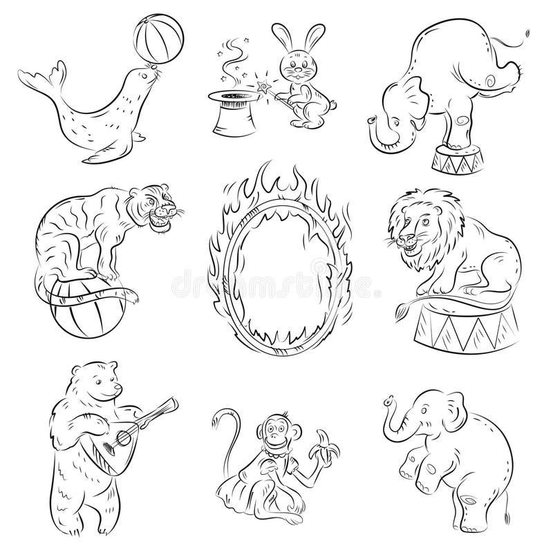 Download Zwierzęta cyrkowi ilustracja wektor. Obraz złożonej z arte - 23538186