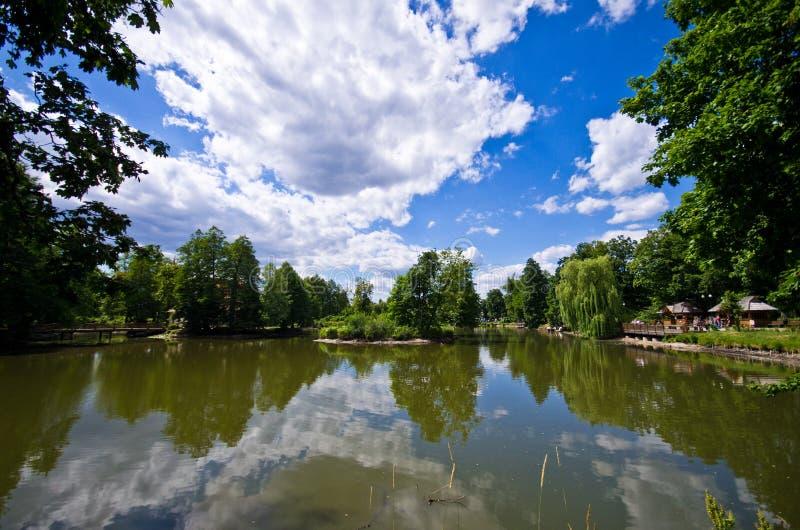 Zwierzyniec, Polônia, o lago principal da cidade no verão fotos de stock royalty free