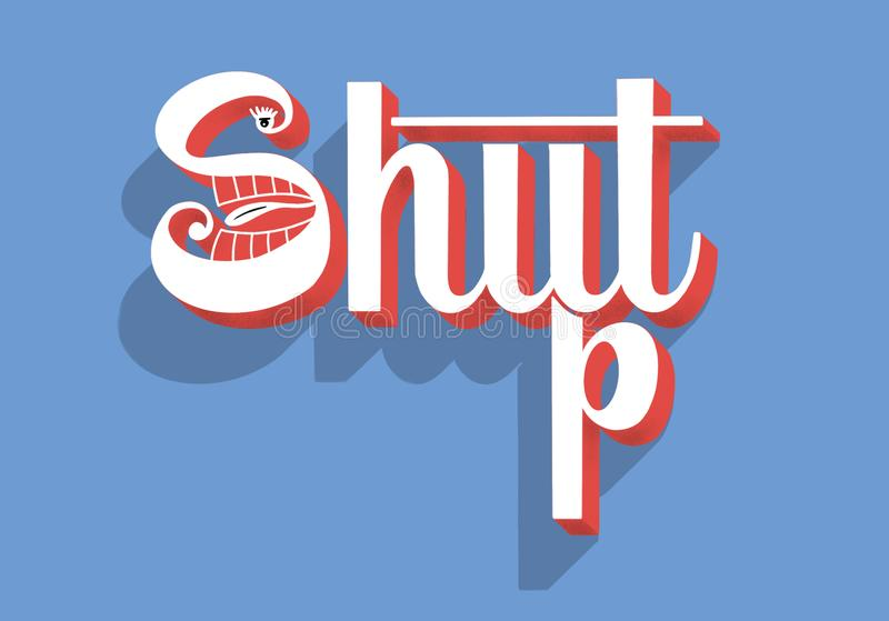Zwijg - overhandig het van letters voorzien conceptuele samenstelling stock illustratie
