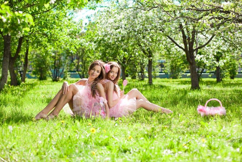Zwillinge in der rosafarbenen Puppeart lizenzfreie stockbilder