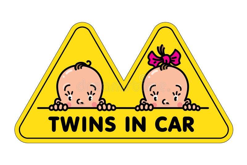 Zwillinge im Autoaufkleber Fases des Babys und des Mädchens vektor abbildung