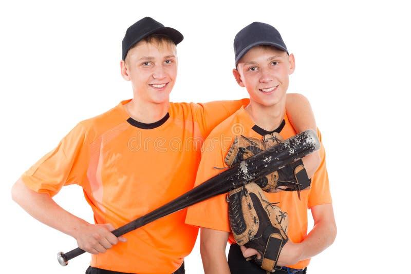Zwillingsbrüder in Form eines Baseballspiels stockfotos