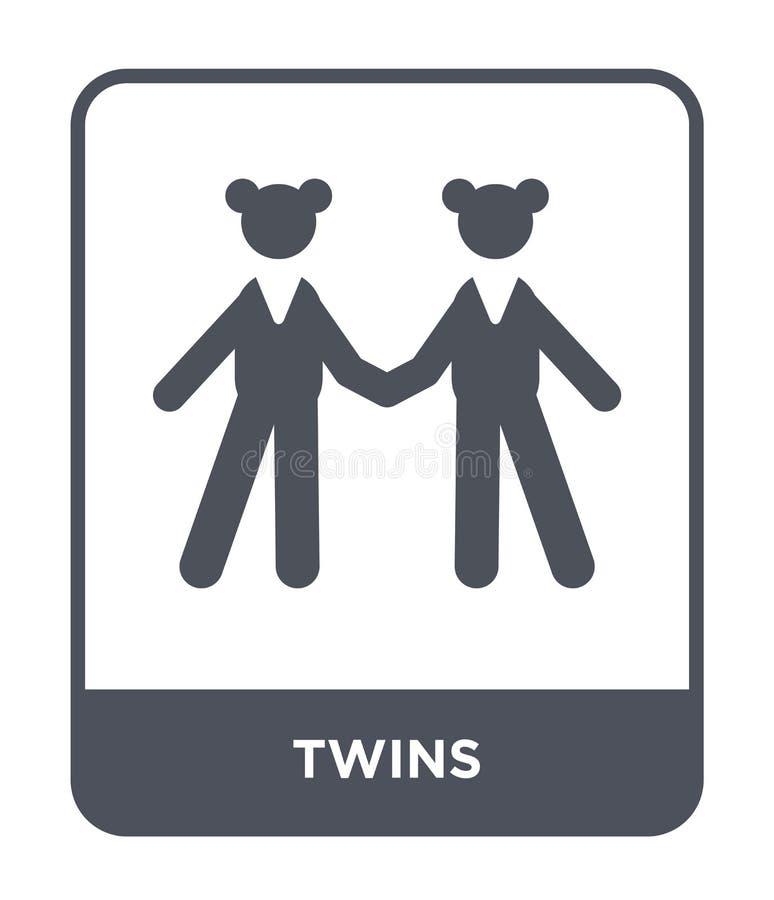 Zwillingsikone in der modischen Entwurfsart Zwillingsikone lokalisiert auf weißem Hintergrund einfaches und modernes flaches Symb vektor abbildung