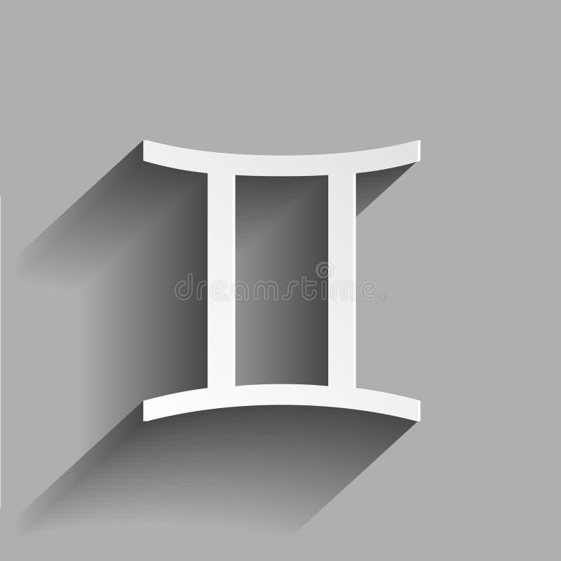 Zwillingssternzeichen Astrologische Symbolikone vektor abbildung
