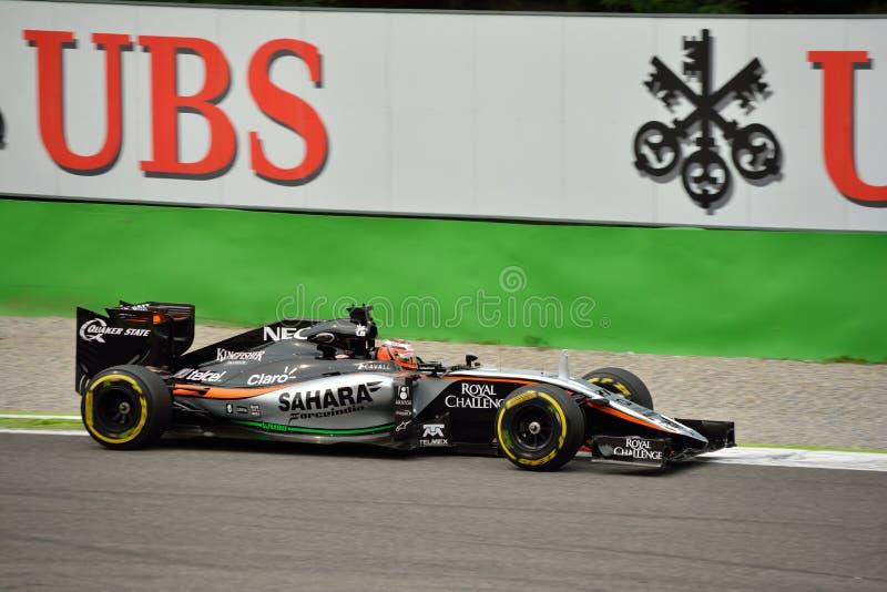 Zwingen Sie Indien VJM08 F1 gefahren durch ¼ Nicolas HÃ lkenberg in Monza stockbild