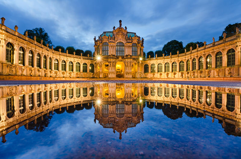 Zwinger in Dresden, Germany. At night stock photo