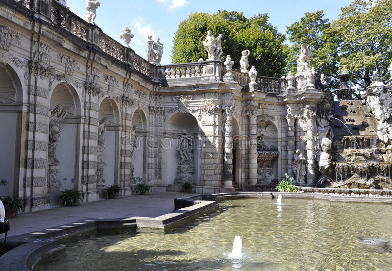 Zwinger Nymphs Bath Pavilion from Dresden in Germany. On a day of august 28 2014 stock photo
