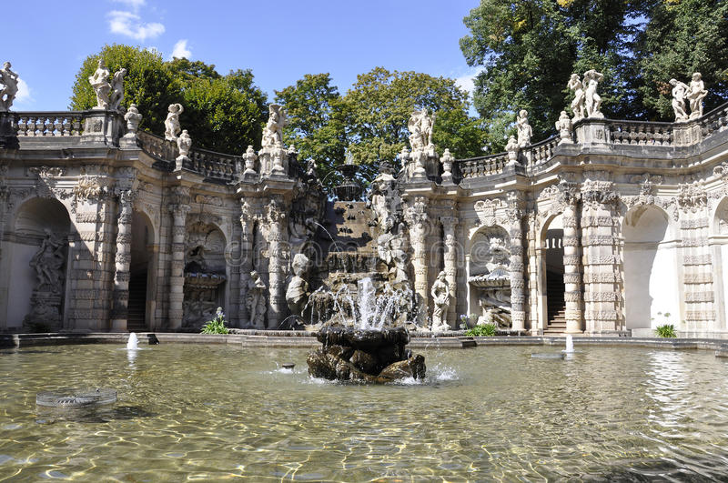 Zwinger Nymphs Bath Pavilion from Dresden in Germany. Zwinger Nymphs Bath Pavilion fountain from Dresden in germany on august 28 2014 stock images