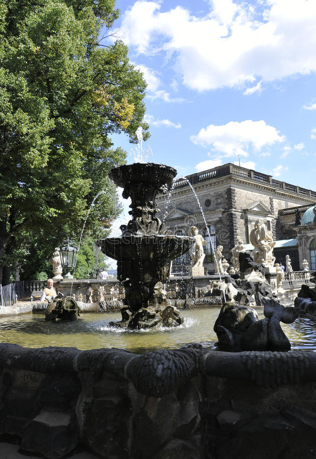 Zwinger Nymphs Bath Pavilion fountain from Dresden in Germany stock image