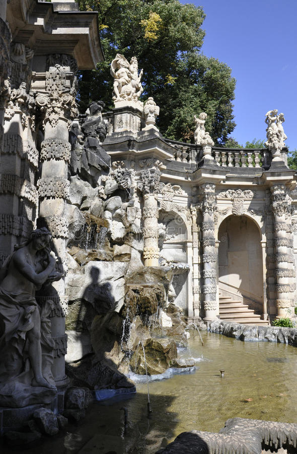 Zwinger Nymphs Bath Pavilion waterfall from Dresden in Germany stock images