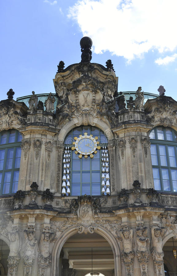 Zwinger Palace clock from Dresden in Germany. On a day of august 28 2014 royalty free stock image