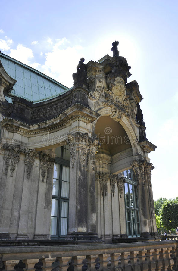 Zwinger Palace details from Dresden in Germany. On a day of august 28 2014 royalty free stock photography
