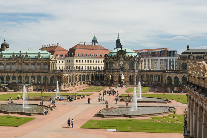 The Zwinger palace and the Dresden castle stock image