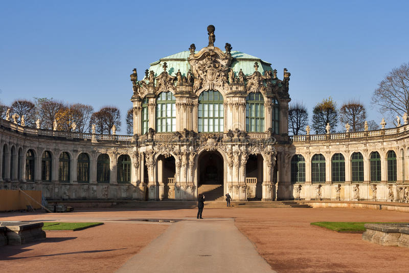 Zwinger palace in Dresden, Germany. Unrecognized tourists visit Zwinger palace in Dresden, Germany royalty free stock photos