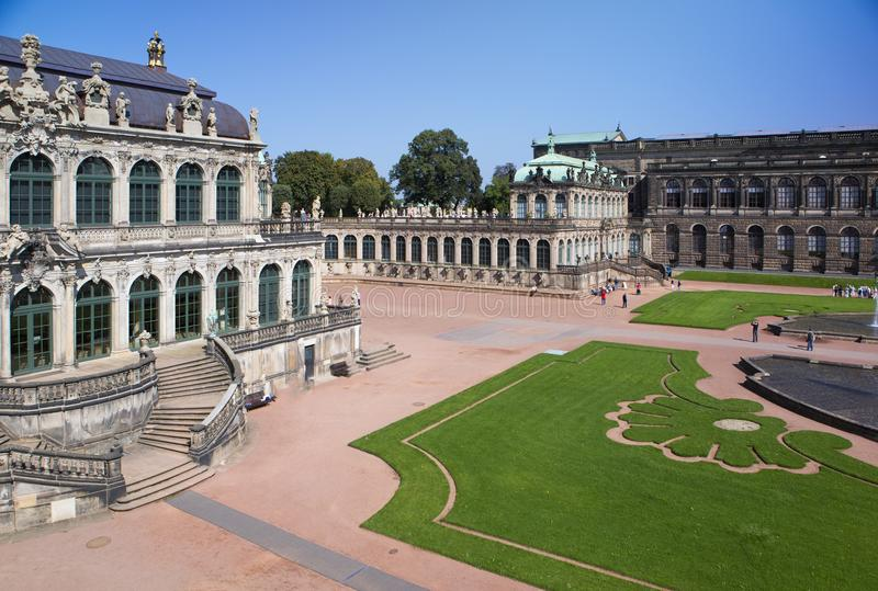 Zwinger palace, XVIII century - famous historic building in Dresden royalty free stock photo