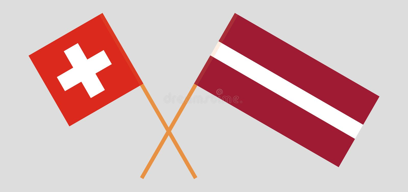 Zwitserland en Letland De Zwitserse en Letse vlaggen Officiële kleuren Correct aandeel Vector stock illustratie