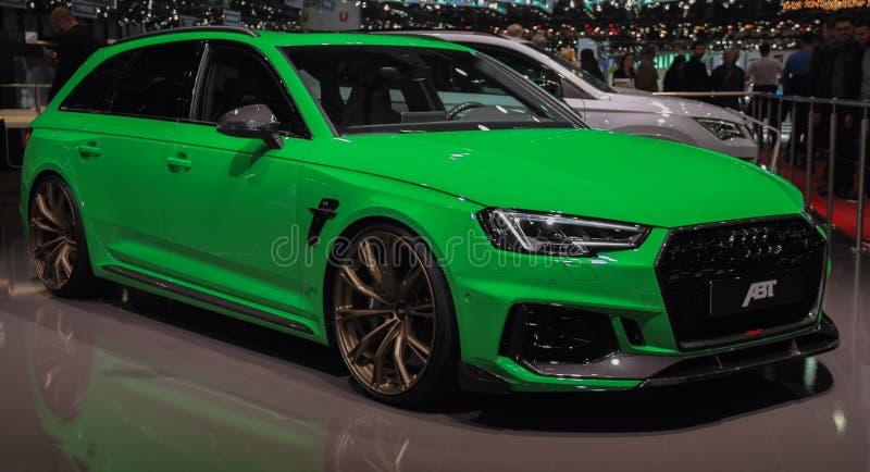 Zwitserland; Genève; 10 maart, 2019; Audi ABT RS4; De 89ste Internationale Motorshow in Genève van zevende tot 17 van Maart, 2019 stock foto