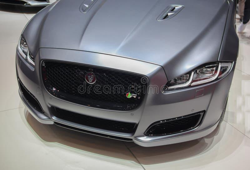 Zwitserland; Genève; 8 maart, 2018; De voorkant van Jaguar R; 88t royalty-vrije stock fotografie