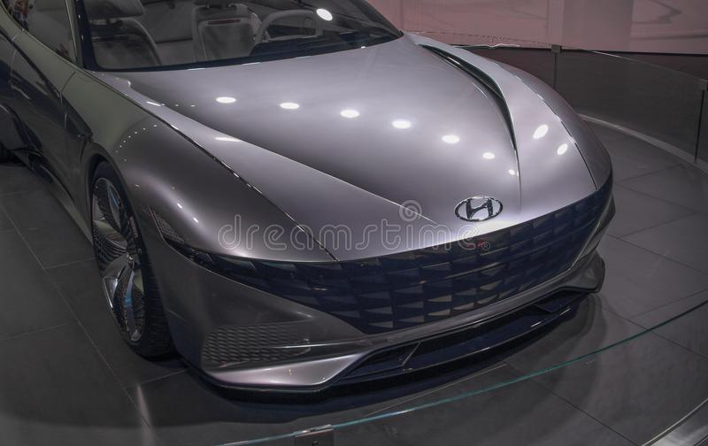 Zwitserland; Genève; 8 maart, 2018; Hyundai Le Fil Rouge Concept royalty-vrije stock foto's