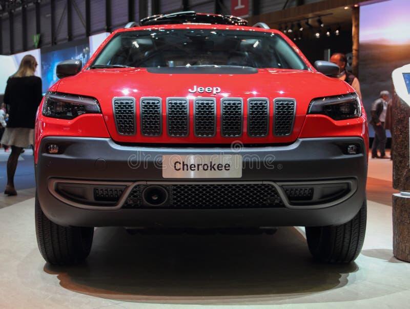 Zwitserland; Genève; 11 maart, 2019; Jeep Cherokee; De 89ste Internationale Motorshow in Genève van zevende tot 17 van Maart, 201 royalty-vrije stock afbeeldingen