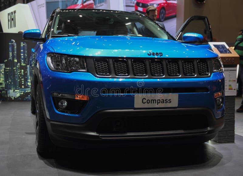 Zwitserland; Genève; 11 maart, 2019; Jeep Compass; De 89ste Internationale Motorshow in Genève van zevende tot 17 van Maart, 2019 royalty-vrije stock afbeeldingen