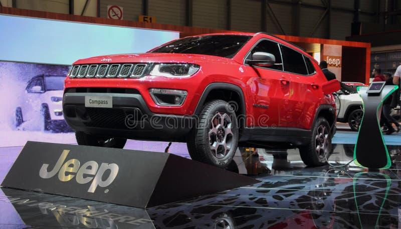 Zwitserland; Genève; 11 maart, 2019; Jeep Compass; De 89ste Internationale Motorshow in Genève van zevende tot 17 van Maart, 2019 stock fotografie