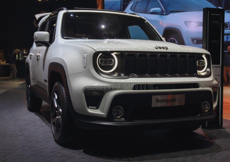 Zwitserland; Genève; 11 maart, 2019; Jeep Renegade; De 89ste Internationale Motorshow in Genève van zevende tot 17 van Maart, 201 royalty-vrije stock foto's