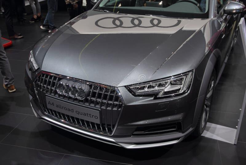Zwitserland; Genève; 8 maart, 2018; Quattro van Audi A4 allroad fron royalty-vrije stock foto's