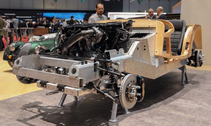 Zwitserland; Genève; March11, 2019; Morgan-chassis; De 89ste Internationale Motorshow in Genève van zevende tot 17 van Maart, 201 royalty-vrije stock afbeelding