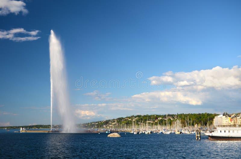 Zwitserland, Genève, mening van Meer Genève stock afbeeldingen